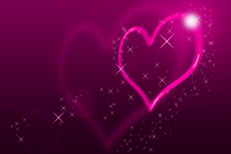 Valentines Day Card With blurred Hearts all in pink with lens flares photo