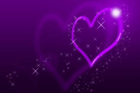 Valentines Day Card With blurred Hearts all in purple with lens flares photo