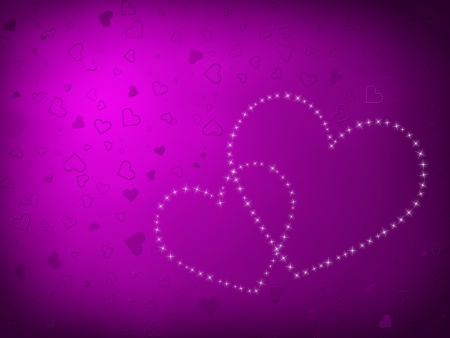 Valentines Day Card with Hearts all in purple photo