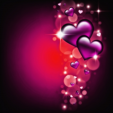 Valentines Day Card with purple Hearts on dark glow background  photo