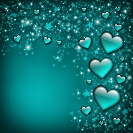 Valentines Day Card with turquoise Hearts and stars photo