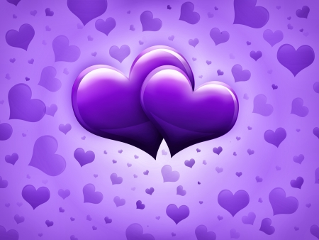 smaller: Valentines Day Card with two big purple hearts and many smaller hearts on a purple background