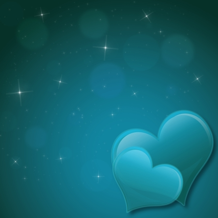 Valentines Day Card with hearts and stars  in green turquois photo