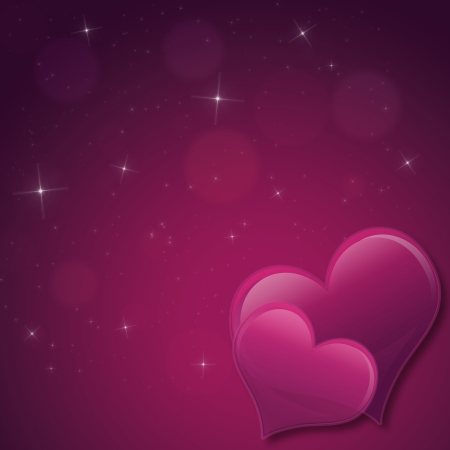 Valentines Day Card with hearts and stars  in pink purple photo