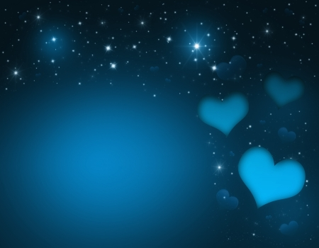 Valentin`s Day Card with blue Hearts and stars photo