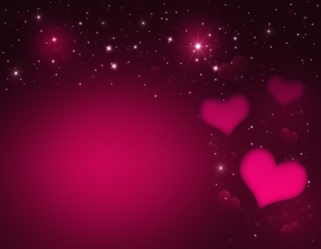 Valentin`s Day Card with pink Hearts and stars photo