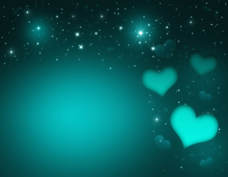 Valentin`s Day Card with turquoise Hearts and stars photo