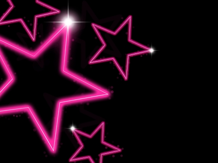 Glowing pink neon stars on black background photo