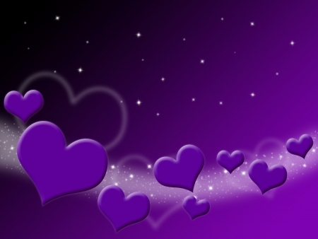amour: Valentines Day Card with purple Hearts and stars on starry background  Stock Photo