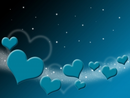 Valentines Day Card with blue Hearts and stars on starry background  photo
