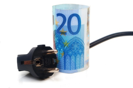 Isolated Power plug with European Banknote - electricity costs concept photo