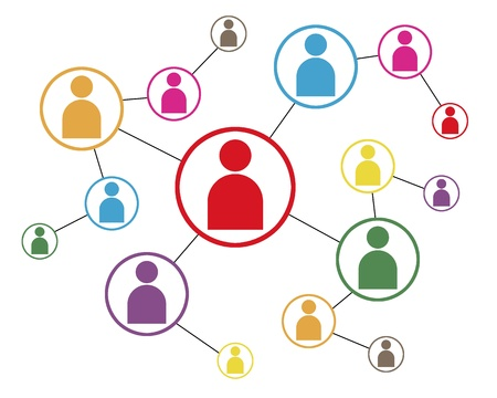 Social Network Icoon Kaart Stockfoto