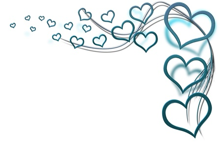 Valentines day background for your designs with turquoise hearts and swirls Stock Photo