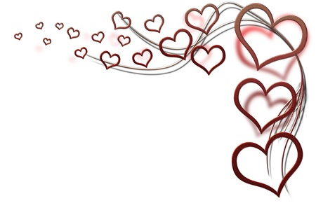 Valentines day background for your designs with red hearts and swirls photo