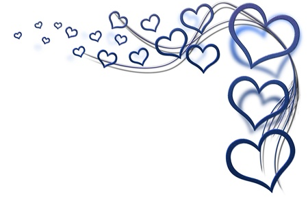 Valentines day background for your designs with blue hearts and swirls