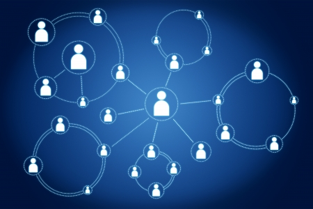network connections concept on blue background Stock Photo - 18958592