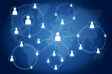 network connections concept on blue background with world map Stock Photo - 18958593
