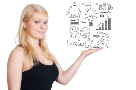 financial figure: business woman present business idea concept on whiteboard Stock Photo