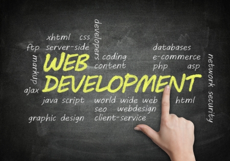 handwritten Web Development concept on blackboard background with a hand pointing Stock Photo - 19057073