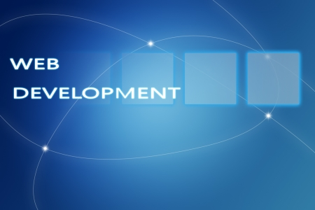 Web Development concept Illustration on blue background illustration