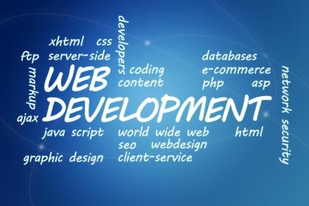 java script: Web Development concept Illustration on blue background