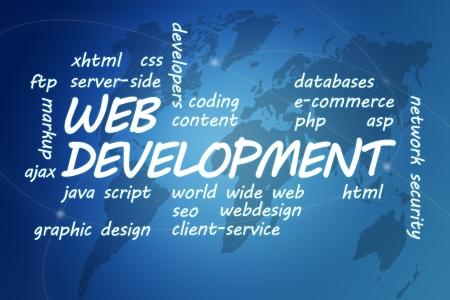 java script: Web Development concept Illustration on blue background with world map
