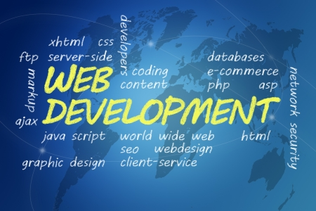 java script: with chalk handwritten Web Development concept Illustration on blue world map background