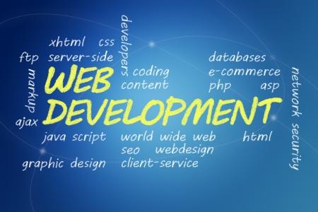 java script: with chalk handwritten Web Development concept Illustration on blue background