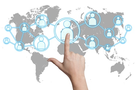 woman hand pressing social media icon on white background with world map Stock Photo - 19131572