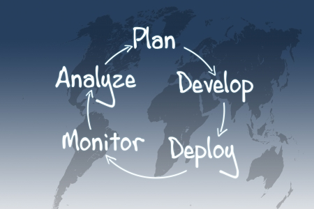 process strategy concept on blue-white world map background photo