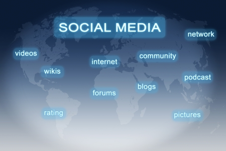 wikis: Social Media buttons concept on blue-white world map background Stock Photo