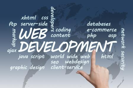 java script: Web Development concept Illustration on blue-white world map background Stock Photo