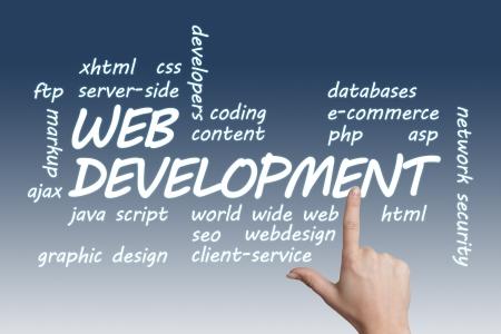 java script: Web Development concept Illustration on blue-white background