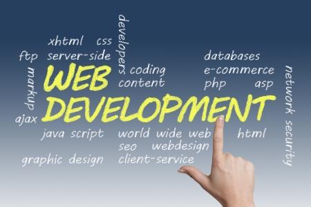 java script: with chalk handwritten Web Development concept Illustration on blue-white background