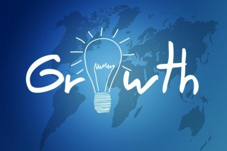 Growth illustration on blue background with world map illustration