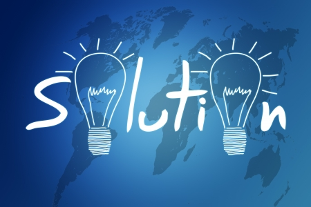 Solution illustration on blue background with world map