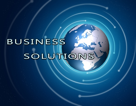 service sphere support web: Business Solutions concept Illustration on blue background with a world globe Stock Photo