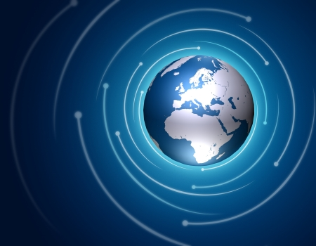 Internet concept illustration with a world globe  Stock Photo