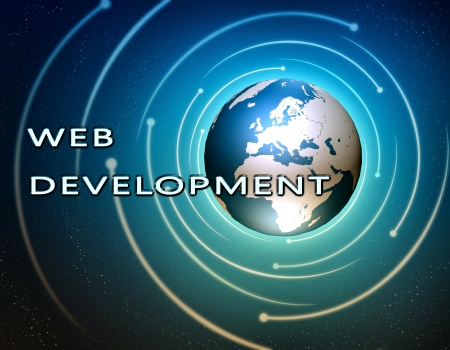 service sphere support web: Web Development concept Illustration on blue background with a world globe