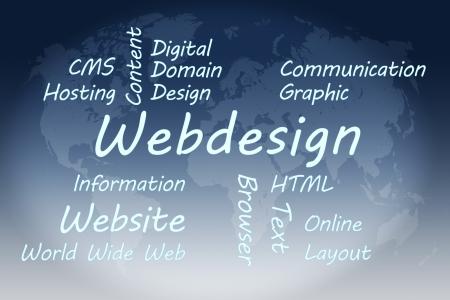 Webdesign wordcloud concept illustration on blue world map background Stock Illustration - 19255199