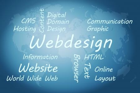 Webdesign wordcloud concept illustration on blue world map background Stock Illustration - 19255207