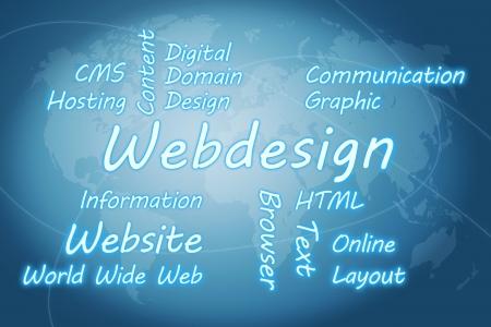 Webdesign wordcloud concept illustration on blue world map background illustration