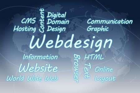 Webdesign wordcloud concept illustration on blue world map background Stock Illustration - 19255200