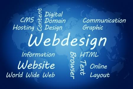 Webdesign wordcloud concept illustration on blue world map background Stock Illustration - 19255210
