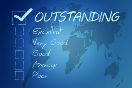 Rating  assessment checkbox concept on blue background with world map Stock Photo