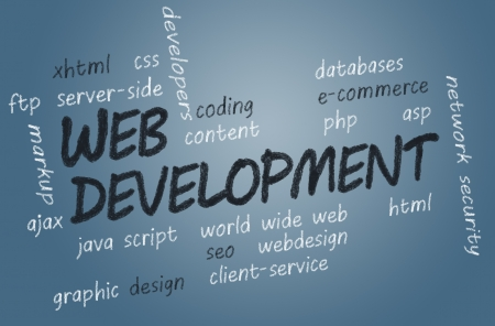 php: with chalk handwritten Web Development concept Illustration on blue-grey background