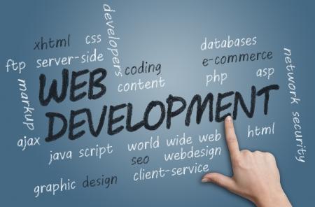 with chalk handwritten Web Development concept Illustration on blue-grey background