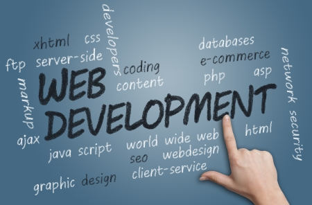 search solution: with chalk handwritten Web Development concept Illustration on blue-grey background