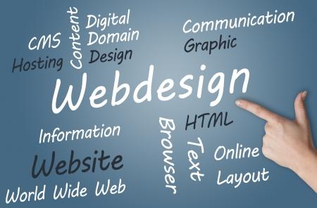 Webdesign wordcloud concept illustration on blue-grey background Stock Illustration - 19460173