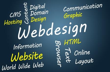 Webdesign wordcloud concept illustration on blue-grey background Stock Illustration - 19460174